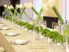 FLOR de LISBOA, calla lilly, jarros, green trick, long table, centerpiece, glass