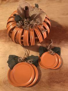 Uploaded by J. Krenicky Uploaded by J. Jar Lid Crafts, Mason Jar Crafts, Mason Jar Diy, Mason Jar Pumpkin, Canning Lid Pumpkin, Fall Mason Jars, Easy Fall Crafts, Fall Diy, Thanksgiving Crafts