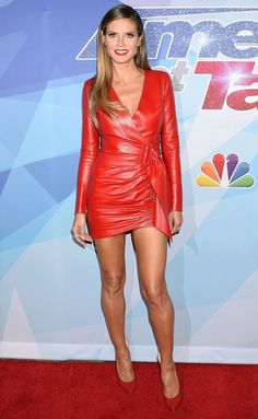 Red hot: Heidi Klum, ensured all focus on herself as she showcased her svelte frame in a skin-tight plunging red dress for the America's Got Talent finals on Tuesday Red Leather Dress, Leather Dresses, Leather Skirts, Black Leather, Leather Jacket, Victoria Secrets Angels, Sexy Dresses, Nice Dresses, Outfit Vestidos