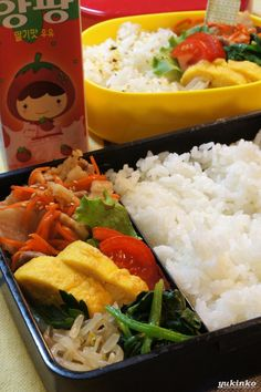 Japanese-Korean #Bento Lunch (Pork Stir Fry, Egg Roll, Moyashi Bean Sprouts and   Spinach)|弁当