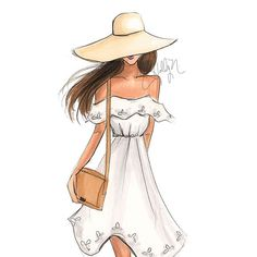 Girl of summer #fashionillustration #floppyhat #offtheshoulder…