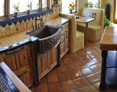 Mexican kitchen fantastic copper farm style ornate sink saltillo