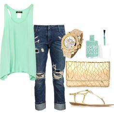"""mint and gold"" by lukacikp on Polyvore"