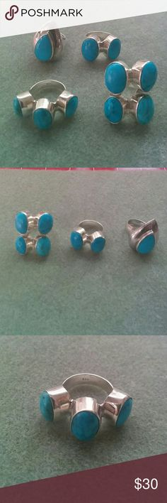 Sterling Silver Turquoise Rings Chunky, sterling silver rings with turquoise cabochons. All are stamped 925. Three are size 8. The one with 3 stones is size 9 Jewelry Rings