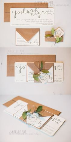Ivory and green modern calligraphy wedding invitation printed wedding invitation with leaves, rustic elegance, kraft paper envelopes