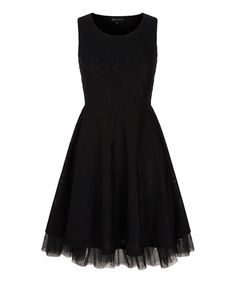 Look what I found on #zulily! Black Lace Tulle Fit & Flare Dress #zulilyfinds