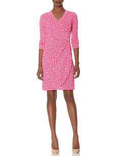 Grid Flux Wrap Look Dress bright pink and white,