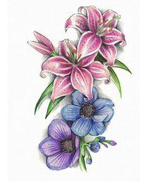 farbige Blumen Tattoovorlagen für Unterarm