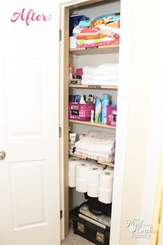 Linen Closet Organization - Great DIY post showing how to organize to maximize a small space for a family.