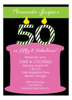 50 Candles On The Cake 50th Birthday Invitation