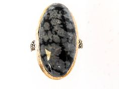 Sterling Oval Snowflake Obsidian Ring          Size 9 1/4 by GemstoneCowboy on Etsy