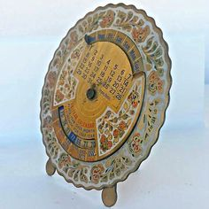 Antique Perpetual Calendar - For 28 years - 1948 to 1975 - Brass Desktop Calendar - Decorated Etched with Flowers, Greek Shop ,EGST