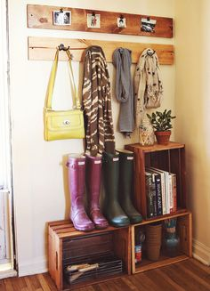 Make your entry way shelves with wooden crates. Easy and cheap!