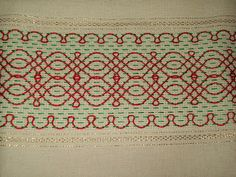 Green and Red Border Swedish Embroidery, Blackwork Embroidery, Diy Embroidery, Cross Stitch Embroidery, Embroidery Designs, Bargello Needlepoint, Cross Stitch Bookmarks, Cross Stitch Borders, Swedish Weaving Patterns