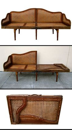 Collapsible and Portable Campaign Bench and Lounge. England, early 20th century. This is one of the most exceptional designs I have come across. I have to applaud the eye of the person from who I acquired it. It has an adjustable feature that allows a person to lay at any number of different angles. This unique design completely collapses into a handy suitcase sized bundle. Absolutely brilliant !
