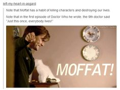 "Moffat may torture us w/ convoluted ontological paradoxes, but he seems to be a softie when it comes to killing off beloved characters. When he does, he tends to bring them back in some way. River and her crew were ""saved."" Clara, Rory, Amy, & the Doctor kept coming back. Amy & Rory got to live out their whole lives together before their final death. The father was saved in ""The Doctor, the Widow, & the Wardrobe."" It was even him who suggested that Jenny live in ""The Doctor's Daughter."""