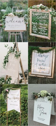 chic greenery wedding signs #weddingideas #weddingdecor #weddingdecoration