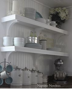 DIY Open Shelves in Kitchen and beadboard backsplash. I need these shelves in kitchen Kitchen Shelves, Diy Kitchen, Kitchen Design, Kitchen Decor, Open Kitchen, Kitchen Ideas, Kitchen Sink, Kitchen Storage, Beadboard Backsplash