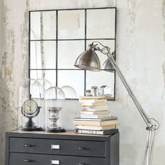 TOBIAS metal mirror in black H 90cm