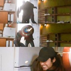 Steve shielding Bucky. Bucky hiding behind Steve and the shield. That is it. I am done. I will see you all at my funeral.<<<And I will be buried with you.