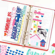 Family Theme, Family Day, Sweet Home Collection, Crazy People, Travelers Notebook, Pattern Paper, Scrapbooks, Bold Colors, Red And Blue