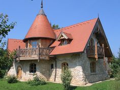 Flagstone, Stone Houses, Hungary, Building A House, Budapest, Home And Garden, Exterior, Cabin, Mansions
