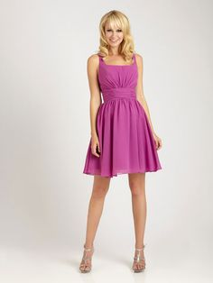 Straps A-line with ruffle embellishment chiffon bridesmaid dress