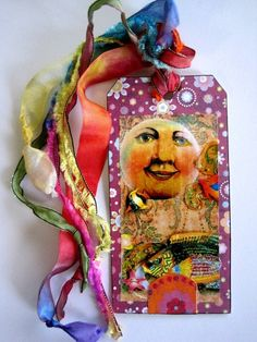 Mixed Media Handmade bookmark book tag Collage   MARDI by IMGirl, $4.00