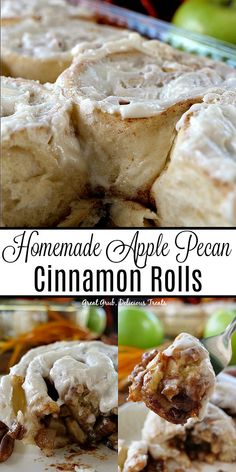 Homemade Apple Pecan Cinnamon Rolls are delicious homemade cinnamon rolls loaded with bits of apples and pecans. Homemade Apple Pecan Cinnamon Rolls are delicious homemade cinnamon rolls loaded with bits of apples and pecans. Pecan Cinnamon Rolls, Pecan Rolls, Homemade Cinnamon Rolls, Brunch Recipes, Breakfast Recipes, Dessert Recipes, Homemade Desserts, Apple Desserts, Yummy Treats