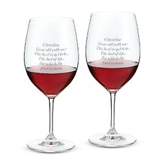 Riedel® Vinum Cabernet Sauvignon/Merlot Set of 2 Glasses at Things Remembered: $60. Wine is meant to be enjoyed with good friends kicking back and relaxing. So if the only thing the recipients of these full lead crystal stems know about wine is that they like to drink it, that's just fine.