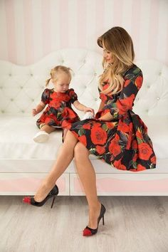 Rose - matching dresses, floral mother and me dresses, family outfits, mother…- Mommy and Me Fashion -meadoria Mother Daughter Matching Outfits, Mother Daughter Fashion, Mommy And Me Outfits, Family Outfits, Girl Outfits, Mommy Daughter Dresses, Moda Outfits, Fashion Kids, Girl Fashion