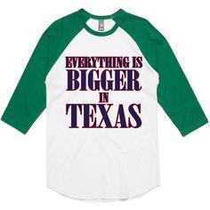 theIndie Everything is Bigger in Texas 3/4-Sleeve Raglan Baseball T-Shirt