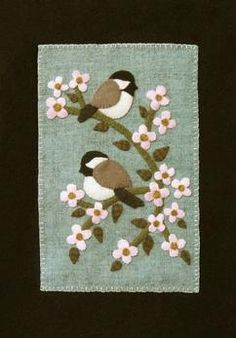 Wool Chickadee Banner Spring Seasonal Banner Chickadees in the Orchard