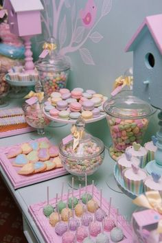 A cute pastel themed dessert buffet! Perfect for any spring Bat Mitzvah celebration.