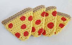 Pepperoni pizza slice coasters with non-slip backs  crochet