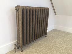 Kensington height cast iron radiator in Antique Gold Antique Paint, Antique Gold, Warehouse Conversion, Cast Iron Radiators, Paint Effects, Beautiful Lines, Paladin, Vintage Fashion, Home Appliances