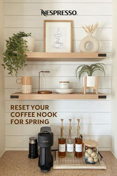 An urge to organize your life always hits in spring. Refresh your home coffee station for the new season with these tips. | 1. Give your coffee nook a clean look by using a consistent color scheme. | 2. Swap the labels on store-bought syrup bottles with custom printouts for a prettier presentation. | 3. Add low-maintenance plants like pothos or succulents for a pop of spring green. | Photo by: @_miriamelizabeth on Instagram.