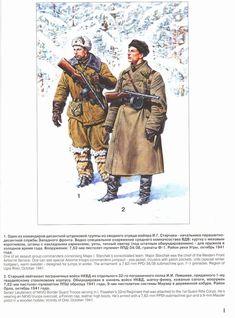 ARMATA ROSSA - 1-Uno de los comandantes integrantes del grupo de asalto aéreo I. Starchak. El Mayor Starchak era el jefe del frente paracaidista occidental. Se puede ver al comandante con un traje de salto, cálido jersey diseñado para saltos en invierno. El armamento: una semiautomática de 7,62 mm PPD-34/38, granadas F-1. Región del Río Ugra, octubre de 1941.  2-Teniente Mayor de la Guardia de Fronteras NK
