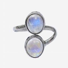Silver Double Rainbow Moonstone Ring