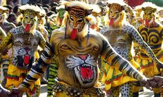 Pulikali is a folk art form celebrated during the Onam season. Thrissur is really famous in the name of this vibrant festival.