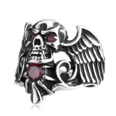 Winged Vampire Skull Titanium Ring