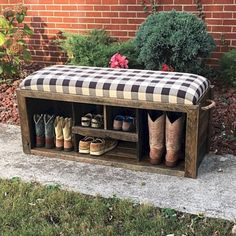 Laundry room shoe bench