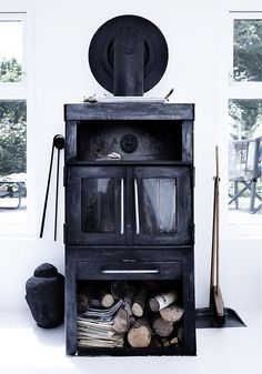 my scandinavian home: My dream cottage would never be without. Black Fireplace, Home Fireplace, Fireplaces, Classic Fireplace, Wooden Fireplace, Cottage Fireplace, Fireplace Design, Nordic Lights, Deco Nature