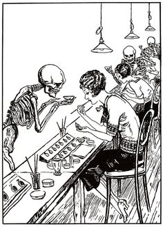 "1928 cartoon showing death hovering over ""Radium Girls"" who died young from bone cancers after ingesting the radioactive element for years while painting watch dials. Mae Keane, the last of the radium girls, died on March 1, 2014 at the age of 107."