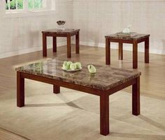 3pc Coffee Table & End Table Set Marble Top Walnut Finish by Coaster Home Furnishings. $299.49. Assembly Required. Stylish and Elegant. Faux Marble. Cherry Finish. A warm, cherry finish wraps the apron and sturdy post legs of each piece, while a marble like top in a coordinating brown finish provides a beautiful surface designed to withstand everyday use.. Save 21% Off!