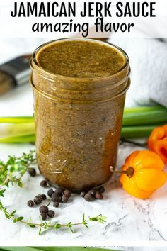 This amazing Jamaican Jerk Sauce is so easy to prepare in a food processor or blender and is great on vegetables tofu or pasta. It is a popular Jamaican marinade that is recognized internationally and made throughout the diaspora. Jamaican Jerk Sauce, Jamaican Dishes, Jamaican Recipes, Jamaican Jerk Seasoning, Authentic Jerk Seasoning Recipe, Jamaican Cuisine, Haitian Food Recipes, Chutneys, Vegan Recipes