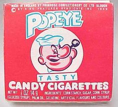Popeye Candy Cigarettes, later named Candy Sticks.now called candy sticks! Retro Candy, Vintage Candy, Vintage Food, Vintage Stuff, 1980s Candy, Funny Vintage, Vintage Photos, My Childhood Memories, Sweet Memories