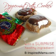 Do you bake cookies for Christmas?  Here's a trick to make Christmas cookie recipes healthier.  Plus a recipe for Peppermint Patty Cookies at B-InspiredMama.com