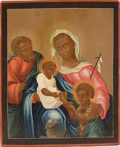 The Holy Family with the Infant John the Baptist.  Unique iconography.  Icon Western proiskhozhneiya.  1750