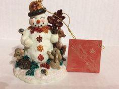 Christopher-Radko-Carlton-Snowman-Woodland-Winds-figurine-1998-with-box-Retired